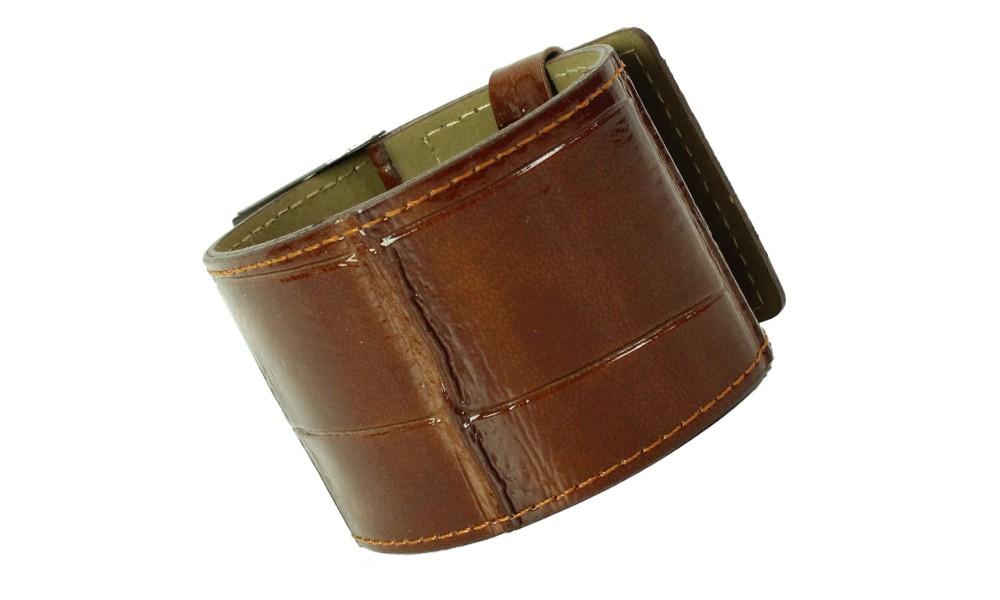Armband KROKO braun glossy