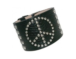 Armband PEACE in Leder Optik schwarz