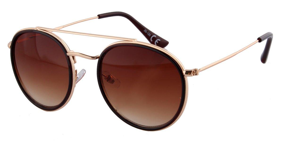 Runde Sonnenbrille braun gold