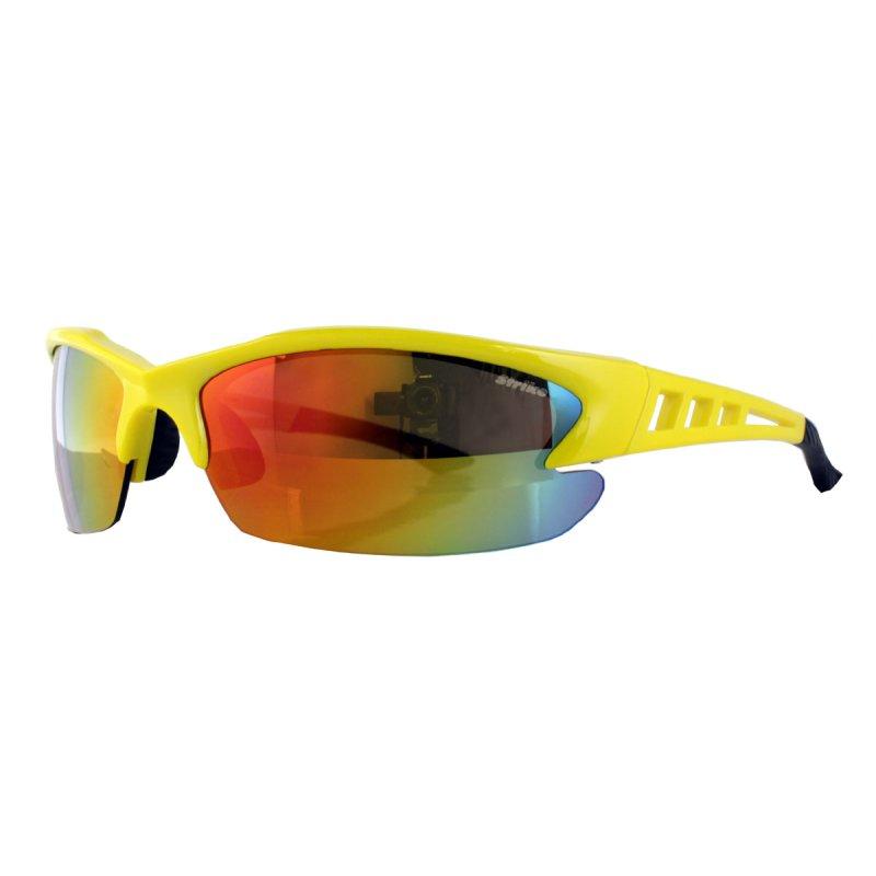 Sportbrille 250 gelb mit orange verspiegelten Gläsern