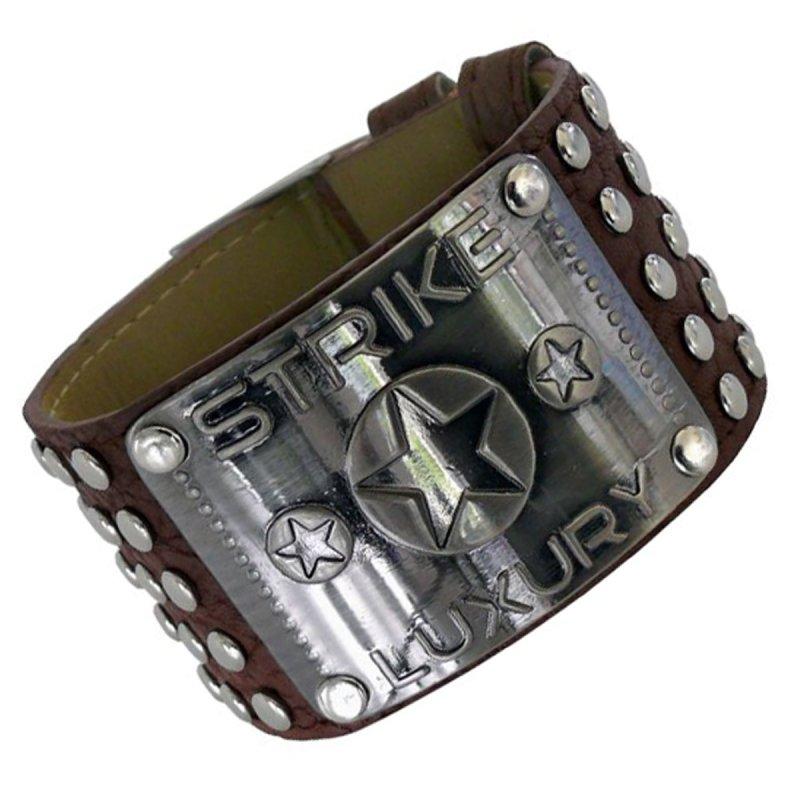 Armband mit Metallplatte und Nieten braun
