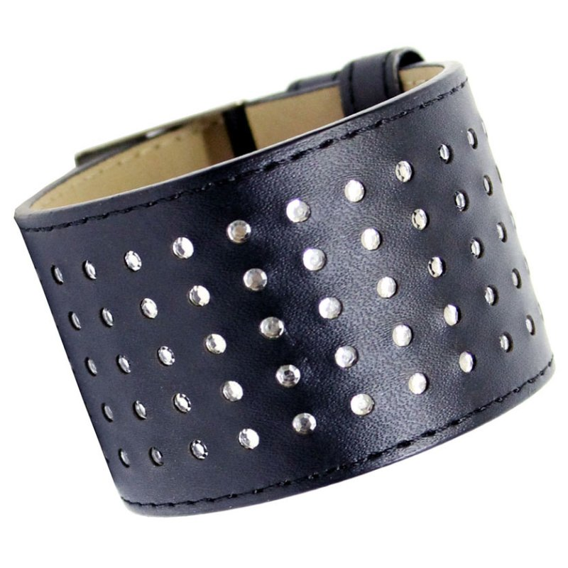 Armband STRASS in Leder Optik schwarz