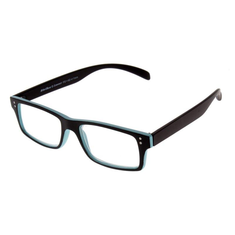Lesebrille matt schwarz - hellblau