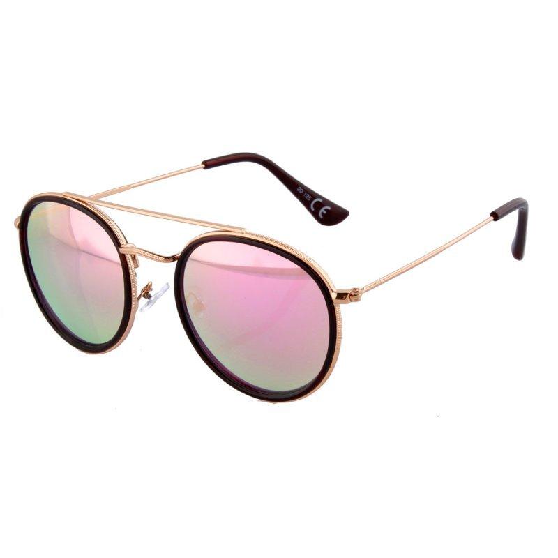 Runde Retro Sonnenbrille rosa verspiegelt