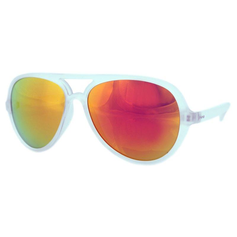 Retro Sonnenbrille matt clear mit verspiegelten Gläsern