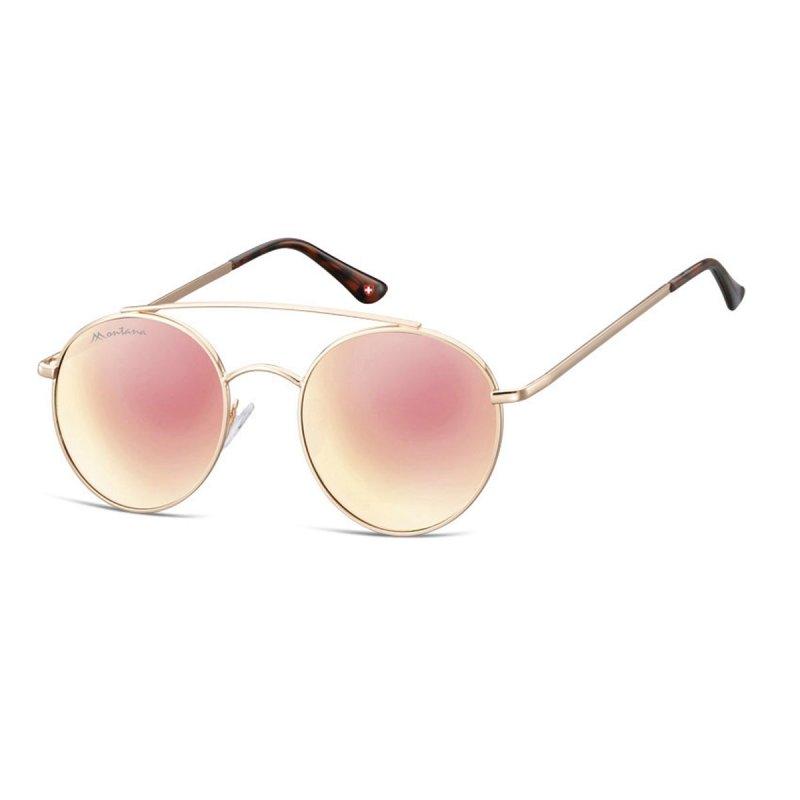 Sonnenbrille mit Doppelsteg und rosa-goldfarben verspiegelten Gläsern