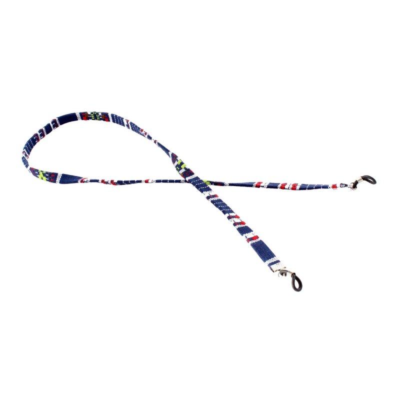 Brillenband mit Azteken-Muster blau