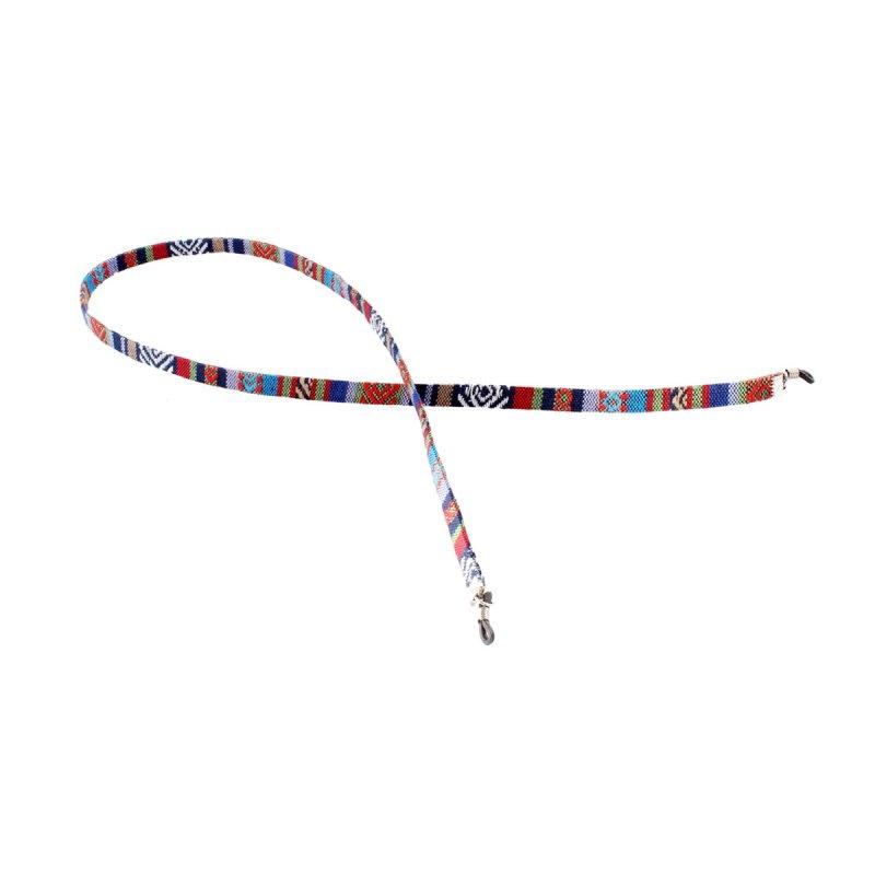 Brillenband mit Azteken-Muster rot-blau