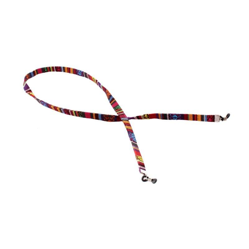 Brillenband mit Azteken-Muster rot-violett