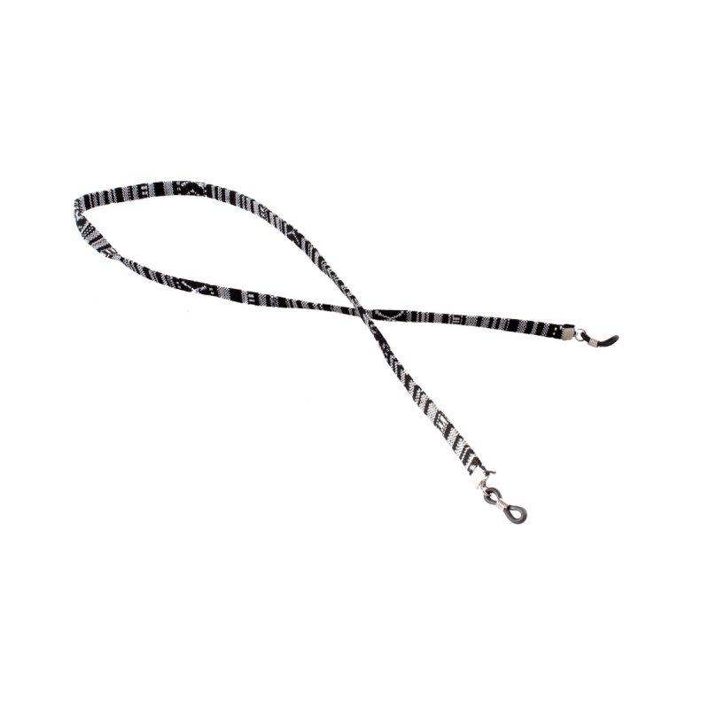 Brillenband mit Azteken-Muster schwarz-weiß