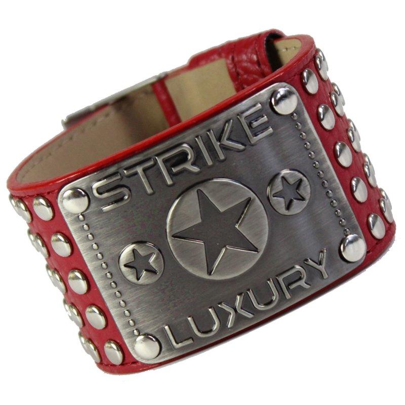 Armband mit Metallplatte und Nieten rot